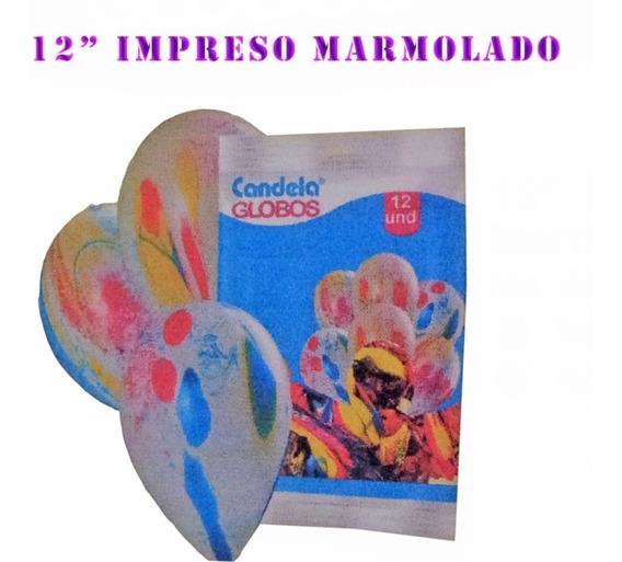 Globos 12pulgadas Impresos Marmolados 12un - La Golosineria