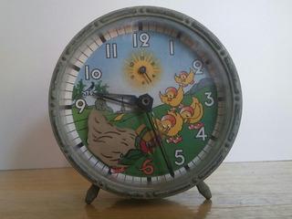 Antiguo Reloj Despertador Jaz Frances, Gallina, Funciona