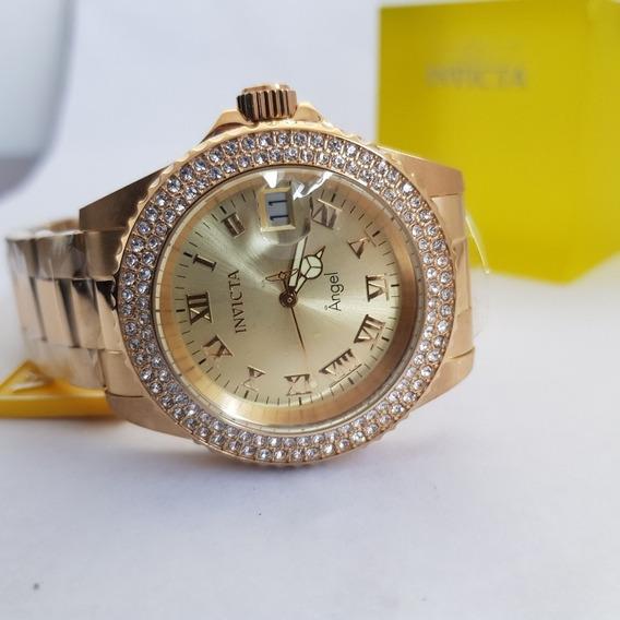 Relógio Invicta Feminino Angel 19513 Original Dourado B Ouro