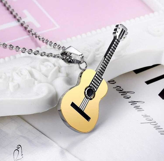 Dije Collar Guitarra Eléctrica Negro Dorado Rock Hiphop