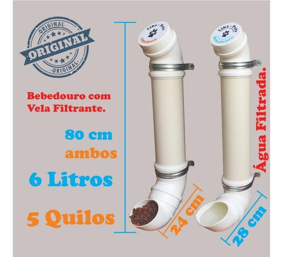 Kit Comedouro Bebedouro Pvc Médio 80cm Com Filtro
