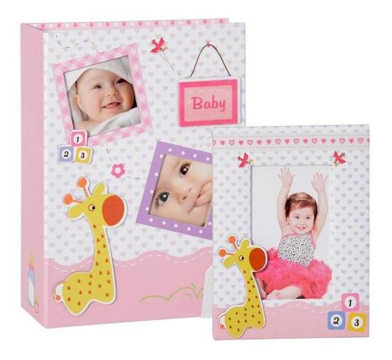 Álbum Bebê 100fotos 15x21 C/ Diário E Porta-retrato Rosa Yes
