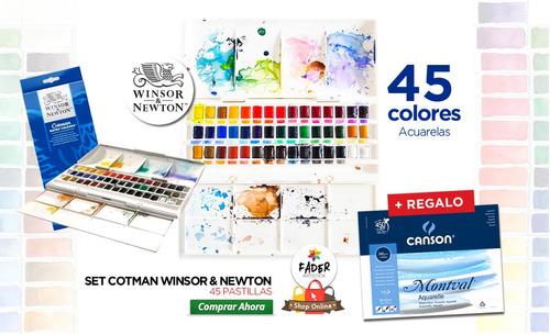 Caja Acuarelas Cotman Winsor & Newton 45 Past + Regalo!
