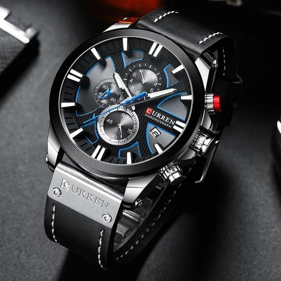 Relógio Curren Black Com Cronógrafo Funcional