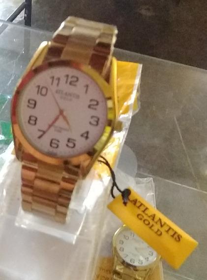 Relógio Atlants Gold Mostrador Branco