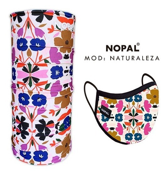 Barbijo Tapaboca Lavable + Cuello Multiuso Nopal