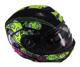 Casco Verde Con Negro Abatible Certificado Iron Racing