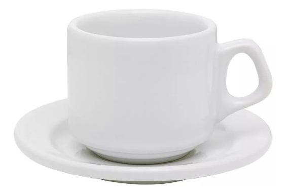 Kit C/6 Xicara C/pires Branca Para Chá 180ml Vitrimik-biona