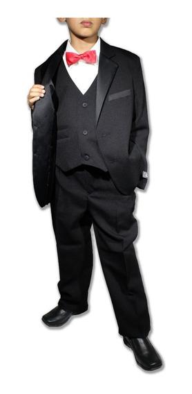 Smoking Ropa Niños Conjunto 3 Pz Saco Chaleco Pantalon Negro