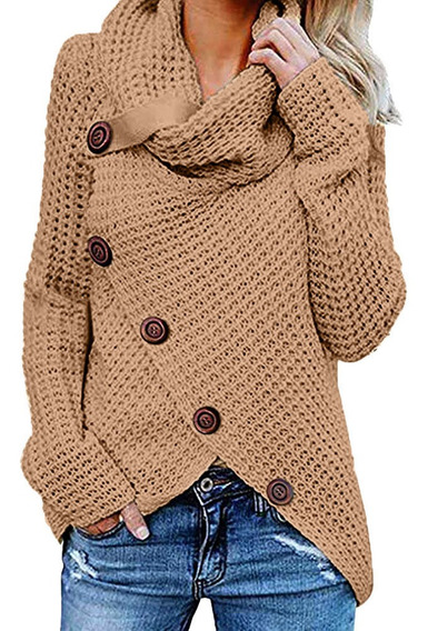 Suéter De Botones Largos Inclinados Irregulares Para Mujer
