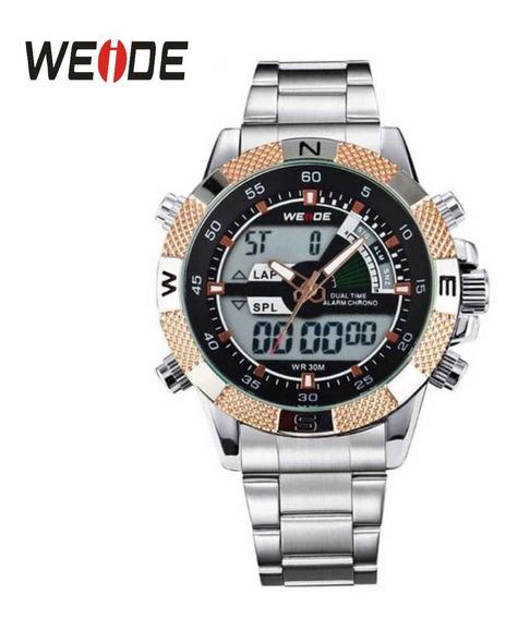 Relógio Prateado Com Dourado Original Weide Wh-1104 Anadigi