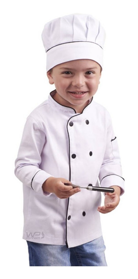 Kit Mini Chef Dólmã E Chapéu Gastronomia Infantil - Branco