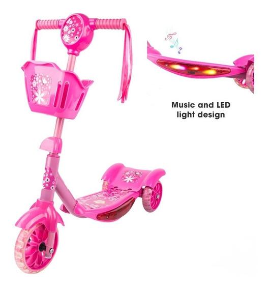 Monopatin Infantil Con Luz Luces Led Y Musica Reforzado 30kg