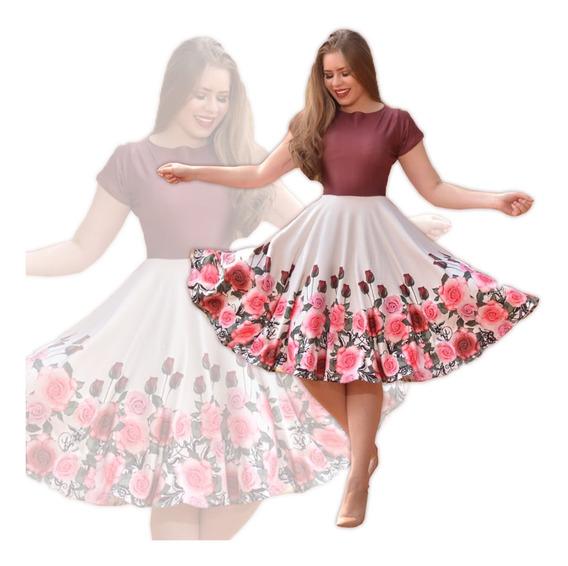 Vestido Feminino Neoprene Boneca Midi Rodado Moda Evangélica