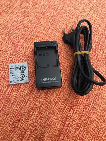 Carregador Original D-bc8 + Bateria Original Pentax D-li8