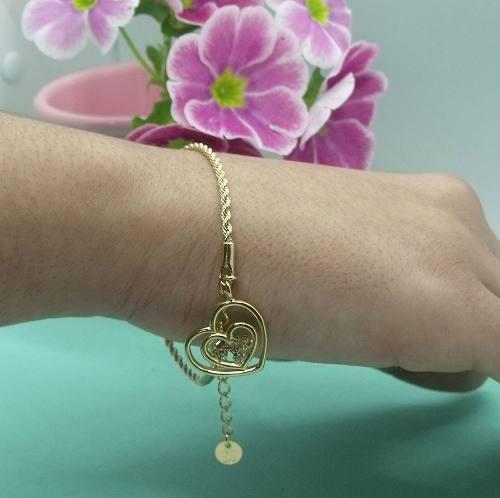 Pulseira Ouro Pingente De Coração Mãe Com Pedra De Zirconia