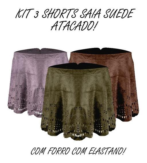 Kit 3 Shorts Saia Curto Recorte Laser Suede Zíper Forro