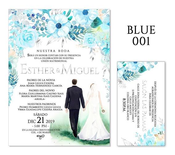 25 Invitaciones - Florales Azul V1 - Bodas, Xv Años, Etc.