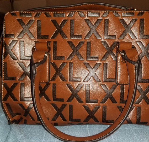 Cartera Extra Large Camel Y Negro, Material Pu, Impecable!!