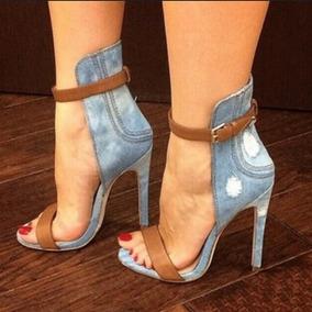 Sandália Importada Feminina Jeans Salto Fino