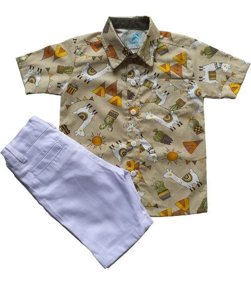 Roupa Festa Aniversário Tema Lhamas Menino Camisa Social