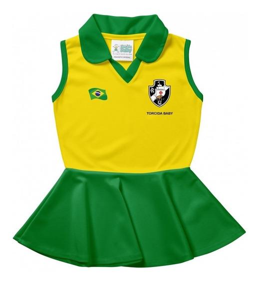 Vestido Polo Infantil Vasco Brasil Torcida Baby