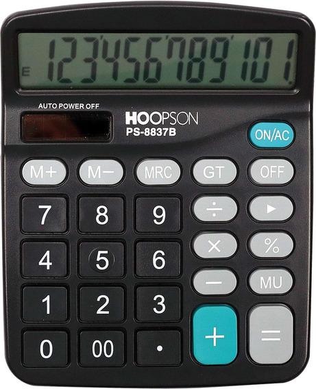 2 Calculadora De Mesa 12digitos Pilha/solar Preta Hoopson Un