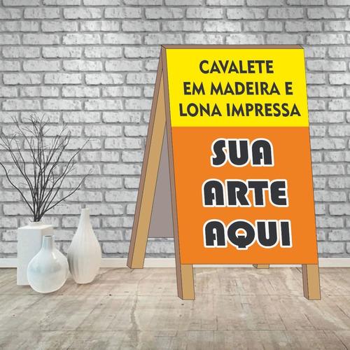 Imagem 1 de 3 de Cavalete Propaganda Em Madeira E Lona Vinil 50x70cm