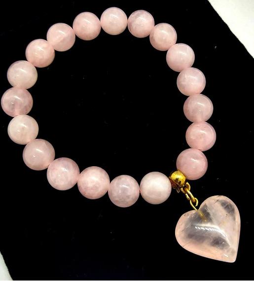 Pulseira Quartzo Rosa Pedra Do Amor Esferas 1 Cm C/ Coração