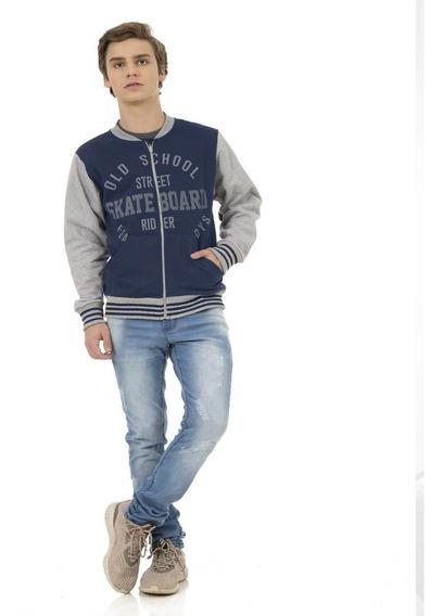 Jaqueta Moletom Juvenil Masculina Skate Azul Rovitex Teen
