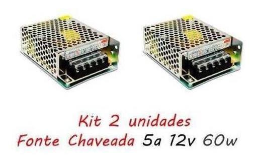 Kit 2 Fonte Chaveada 5a 12v 60w P/ Cftv Fita De Led