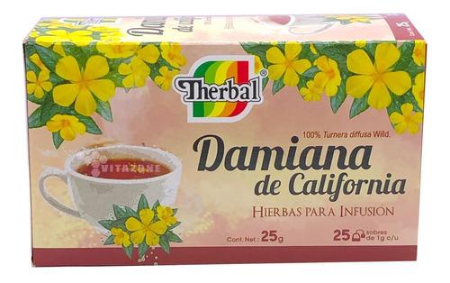 Imagen 1 de 3 de Té Damiana De California 25 Sobres Therbal