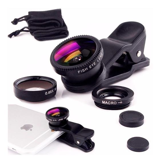 Lente 3x1 Olho De Peixe Macro Fish Eye Celular iPhone Galaxy