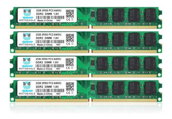 Memoria Ram 8gb Ddr2 Pc2-6400 Pc2-6400u 800mhz Motoeagle Ddr2-800 2rx8 240-pin Dimm Kit (4x2gb)