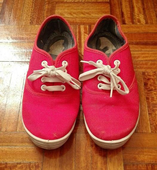Zapatillas De Lona Color Coral/rosa N° 36
