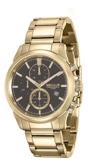 Relógio Masculino Seculus Cronógrafo 13023gpsvda1 Dourado