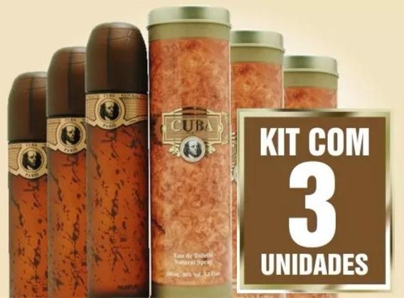 Kit 3 Perfume Cuba Gold Dourado 100 Ml 100% Original Lacrado
