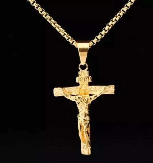 Corrente Colar Crucifixo Banhado Ouro 18k Elos Fino