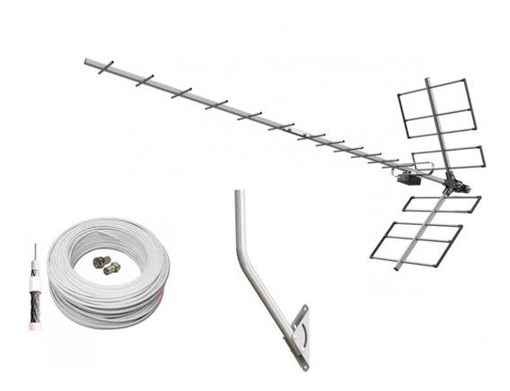 Kit Antena Forte Digital Externa Uhf Hdtv Cabo E Mastro