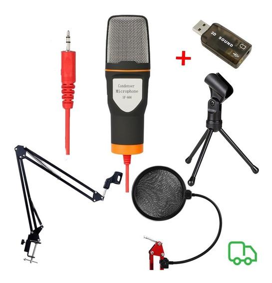 Microfone Sf666 + Braço Articulado + Popfilter+ Tripé+brinde