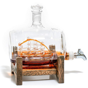 Whiskey Decanter Jarra Vino Wine Barril Barco Wine Tequila