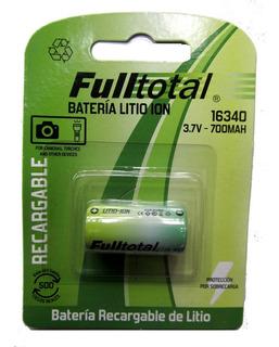 Pila Bateria Cr123a 3.7v 700mah Litio Recargable 16340