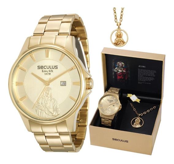 Relógio Masculino Seculus Dourado De Jesus Deus Religioso Católico Casual Passeio Prova D