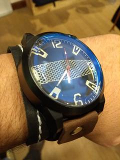 Brazalete De Cuero Legitimo Artesanal Con Reloj