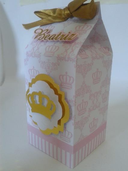 Caixa Milk Realeza Coroa Rosa Lembrancinha Personalizada