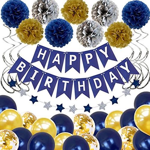 Decoración De Cumpleaños Para Hombres Y Mujeres, Color Azul