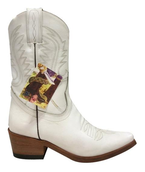 Texana Mujer Jr Original Cuero Base Suela Bordada Blanco