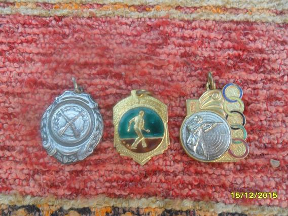 Lote De 3 Medallas Premios Trofeo Tiro Bochas Ideal Llaveros