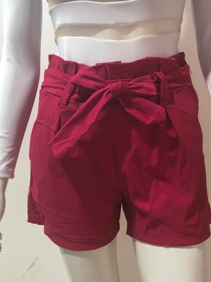 C/ 2 Shorts Cintura Alta Feminino Bengaline Laço Shortinho