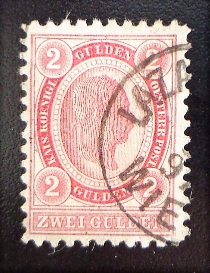 Austria, Sello Yv. 59 2 G Carmín D 10 1-2 1890 Usado L10396